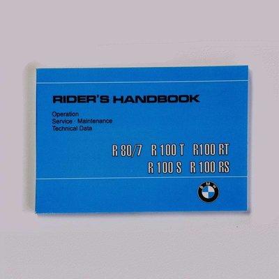 Rider's handboek R80RT R100 R100CS / RS / RT 9 / 1980-9 / 1984, Engels