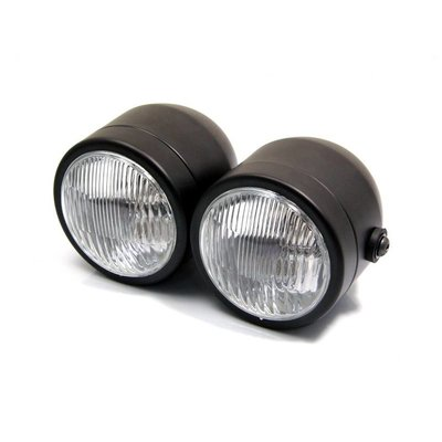 Twin Headlight Dubbele Koplamp Matzwart