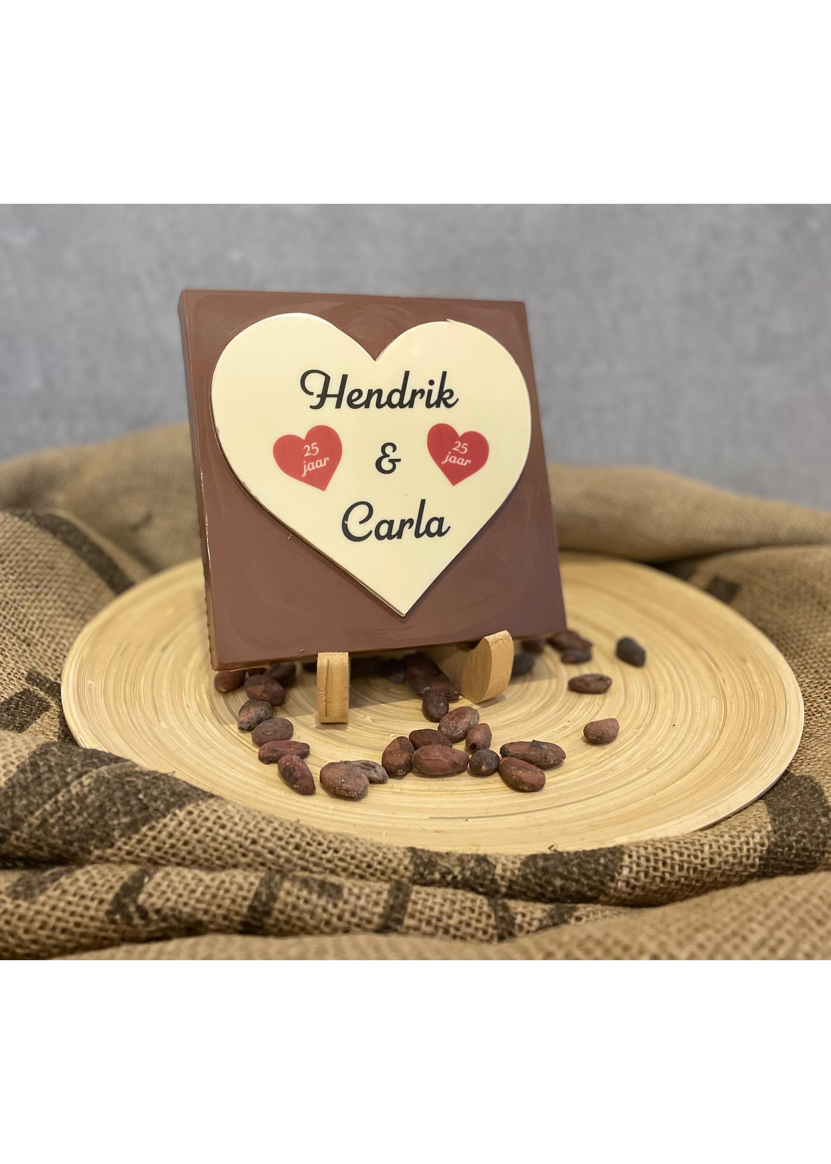 Chocolade hart met eigen ontwerp