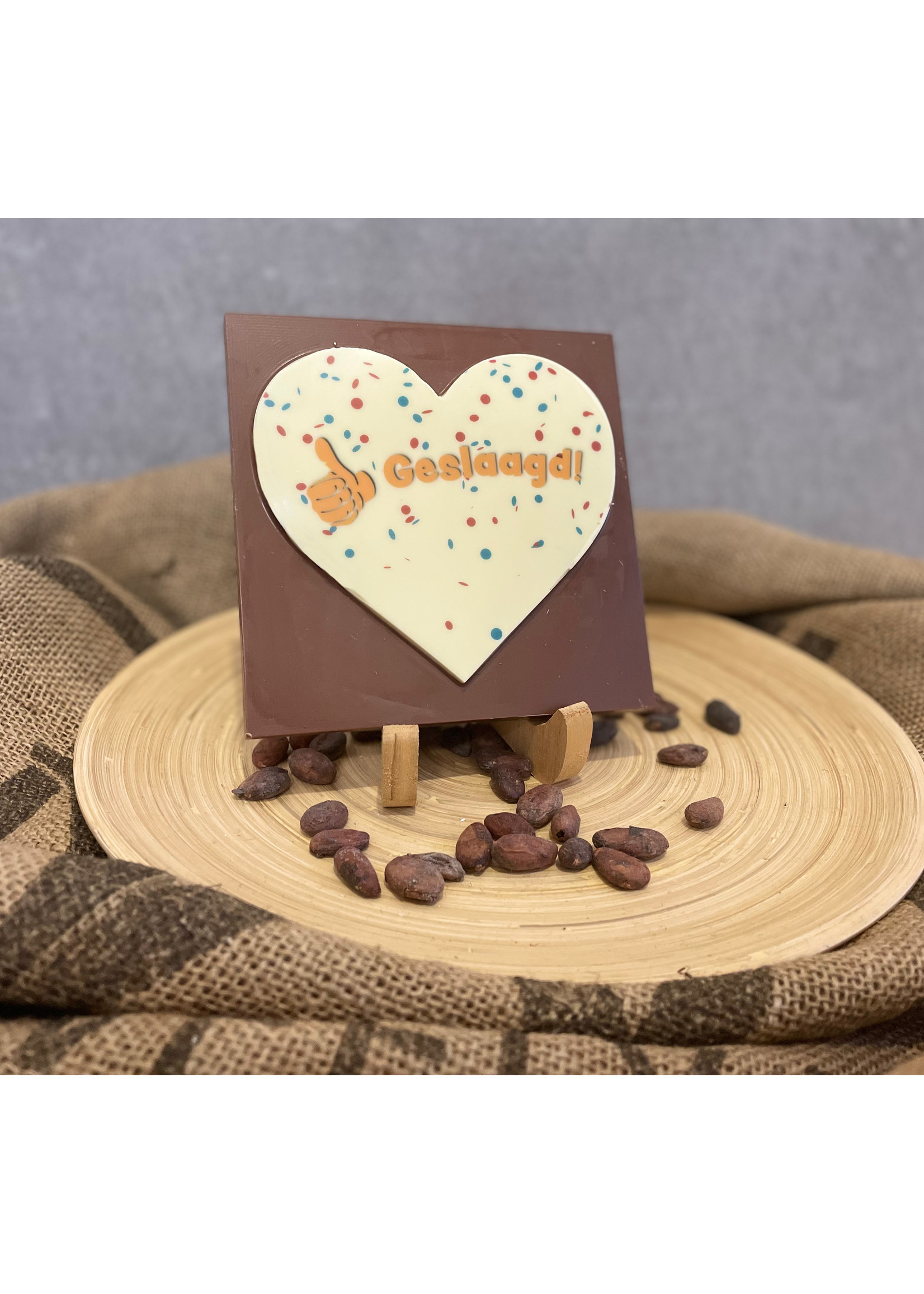 Chocolade tablet met geslaagd opdruk