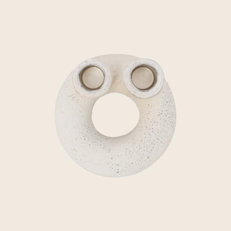 Candle Holder Donut White