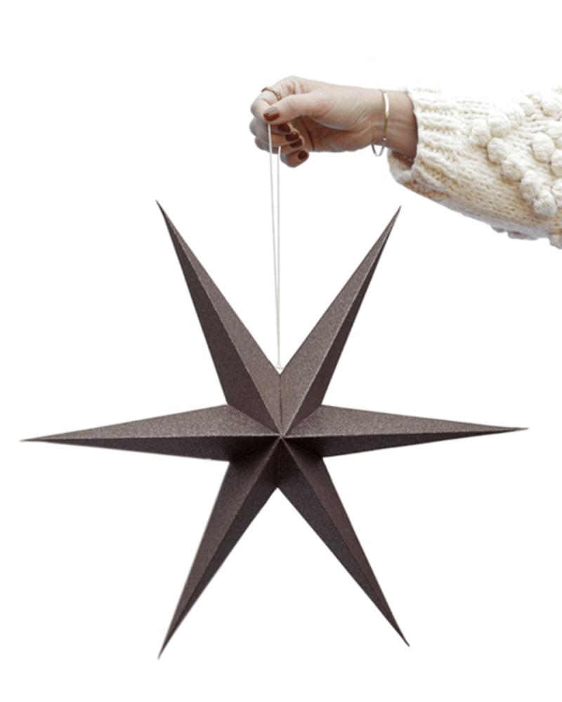 Brown Sparkle Paper Stars