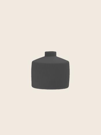 Little Ribbed Anthracite Vase