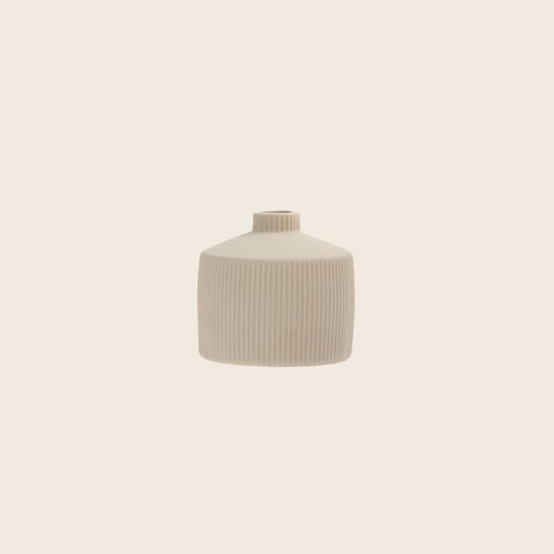 Little Ribbed Beige Vase