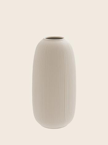 Ribbed Vase Beige