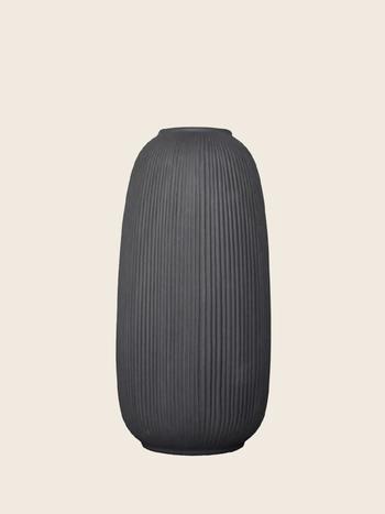 Ribbed Vase Dark Grey