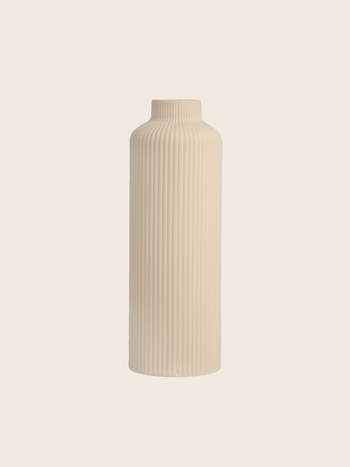 Tall Ribbed Vase Beige