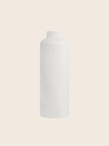 Tall Ribbed Vase White