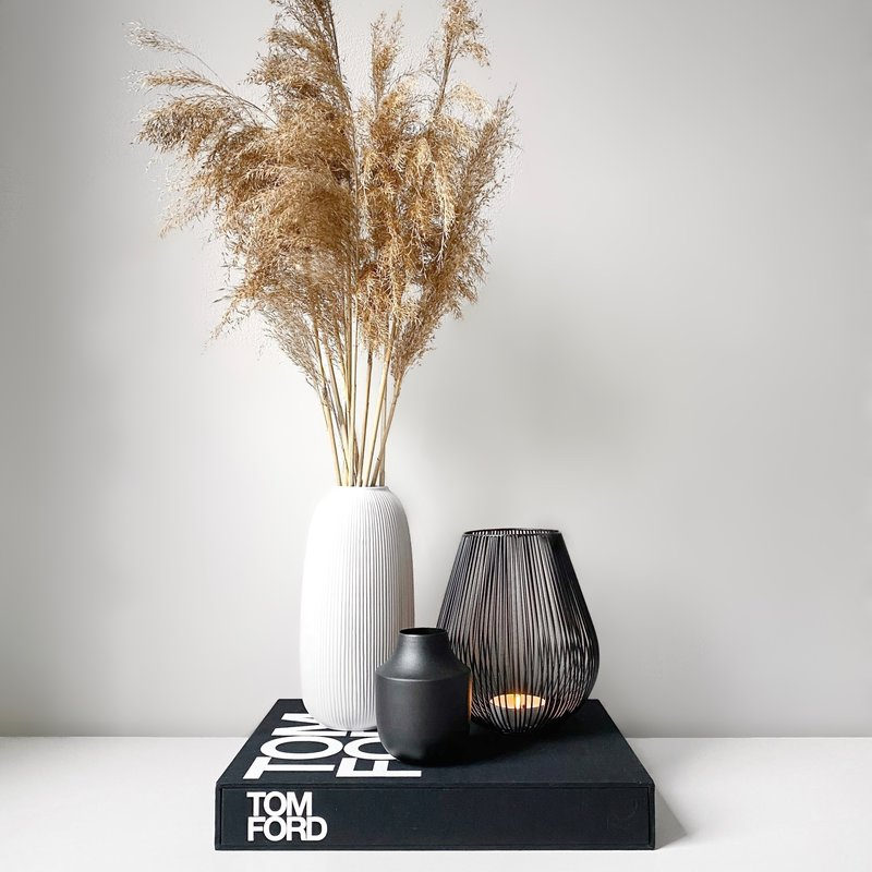 Ribbed Vase Light Grey