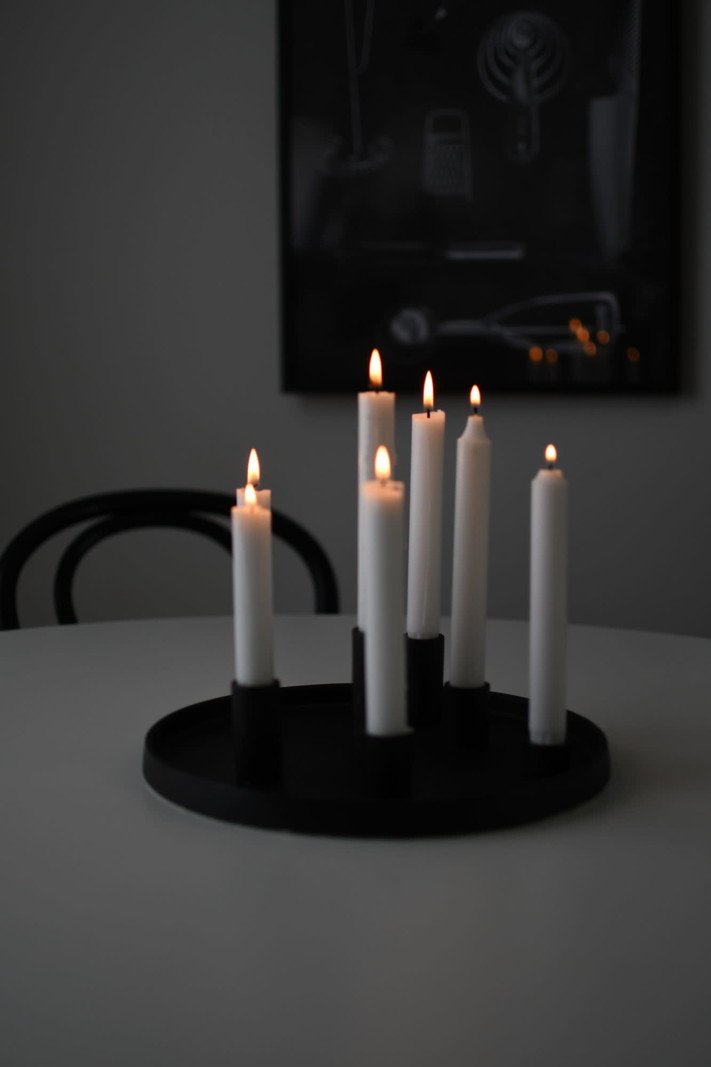 Candle Holder Plate Black