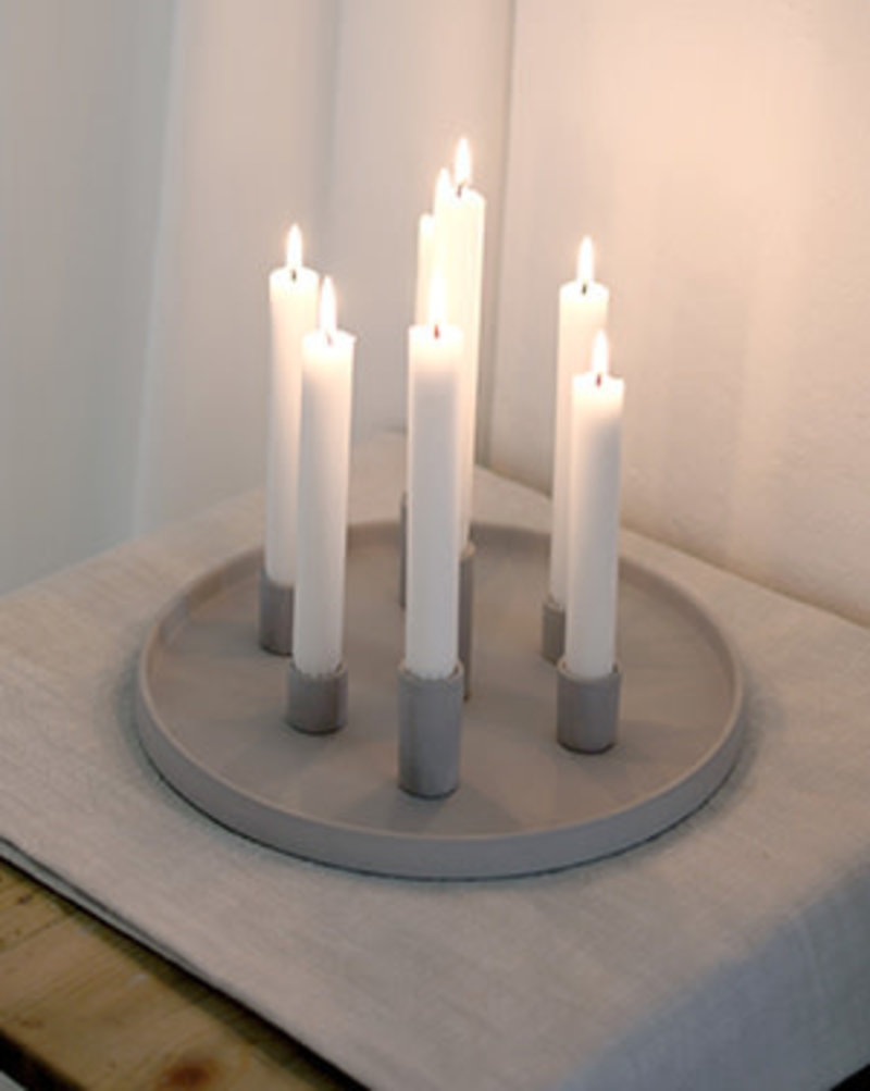 Candle Holder Plate Grey