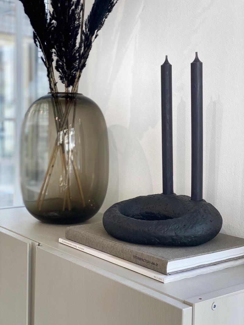 Candle Holder Bagel Black
