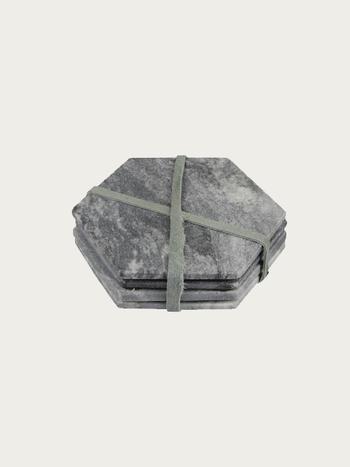 Marble Coaster Set Dark Grey