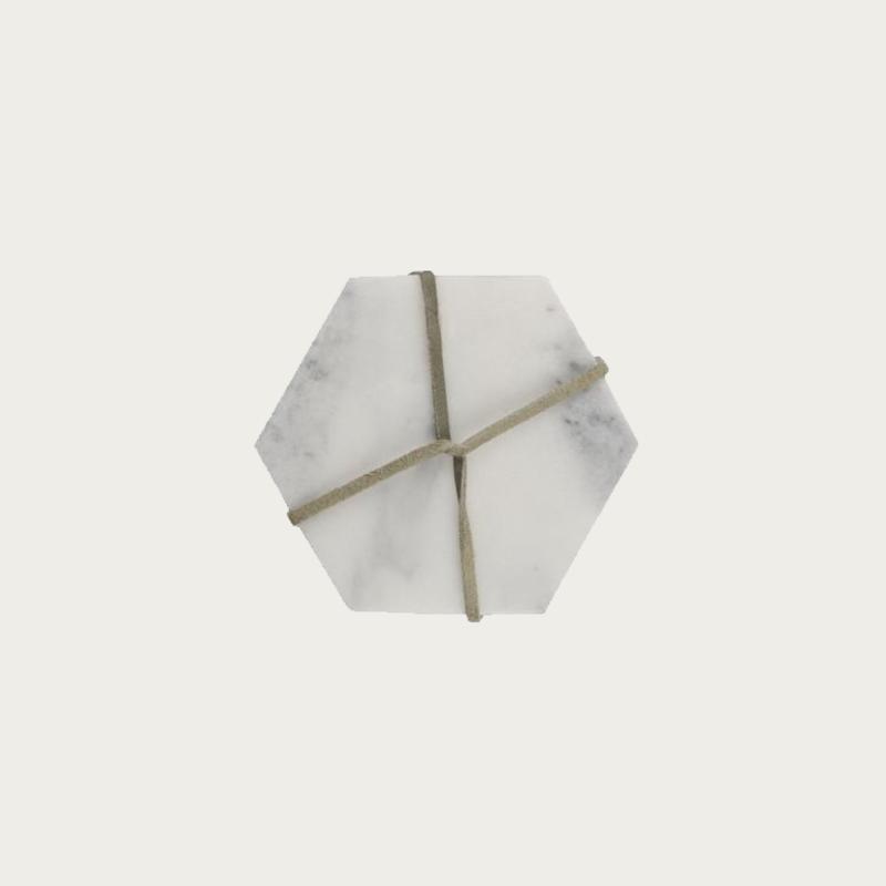 Marble Coaster Set White