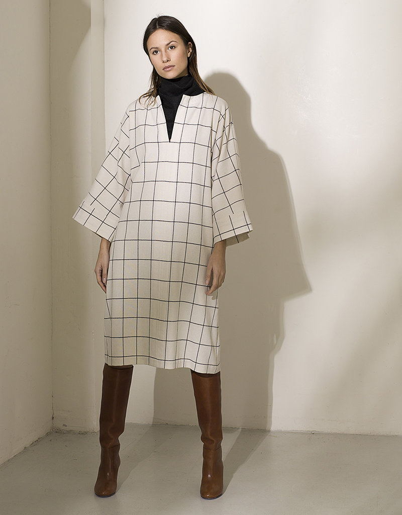 Dutchess Georgie dress - white check