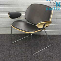 Fauteuil Design Zwart / Hout Leer
