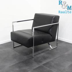 Walter Knoll Sen, Design Fauteuil, Zwart Leer