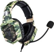 ONIKUMA K8-CAM Professionele Gaming Headset voor PC, Xbox, Playstation, Hoofdtelefoon met Microfoon. LED's met RGB via USB, 1 x 3,5 mm-aansluiting en 50mm element, kabelbesturing, groen