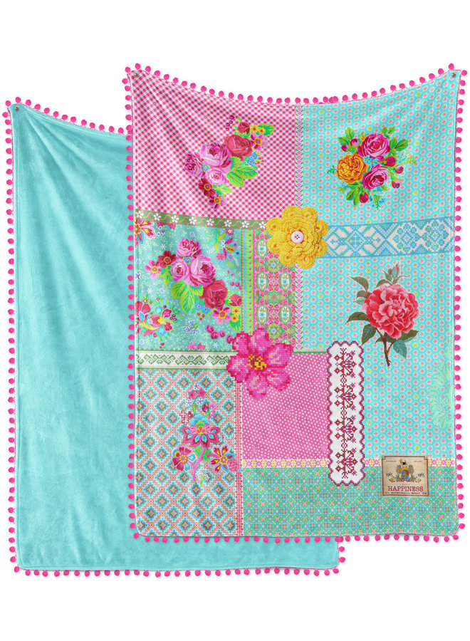 Plaid met Pom Poms 150x200 polyester nr.8053 multi