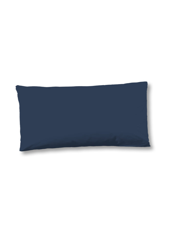 Kussenhoes katoen satijn 1-40x80 d.blauw