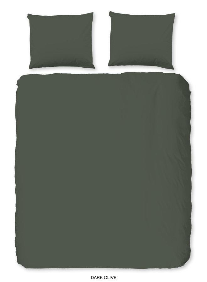 Dekbedovertrek Lits-jumeaux 240x220 katoen-satijn d.olijf