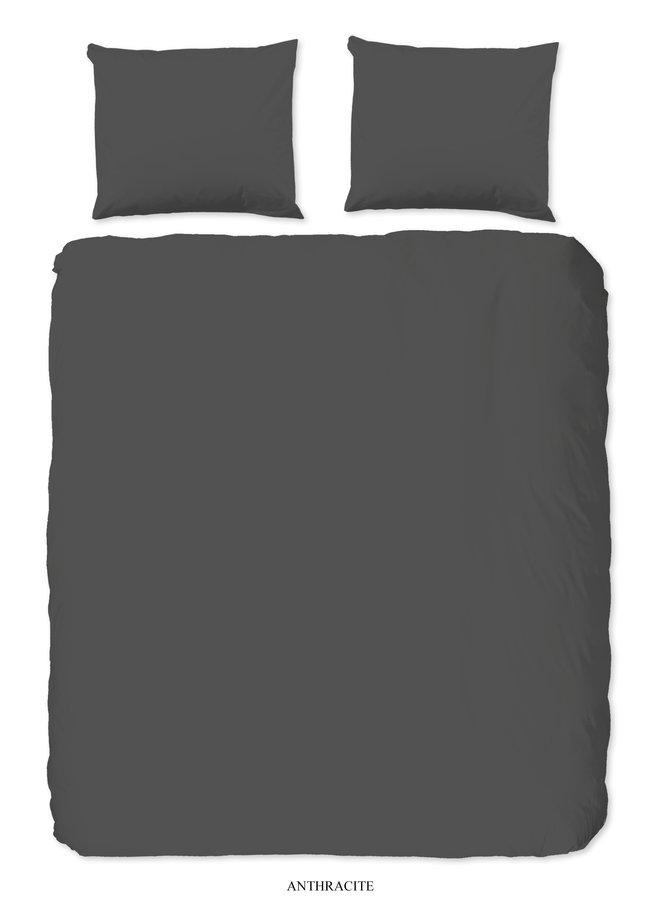 Dekbedovertrek Lits-jumeaux 240x220 katoen-satijn antraciet