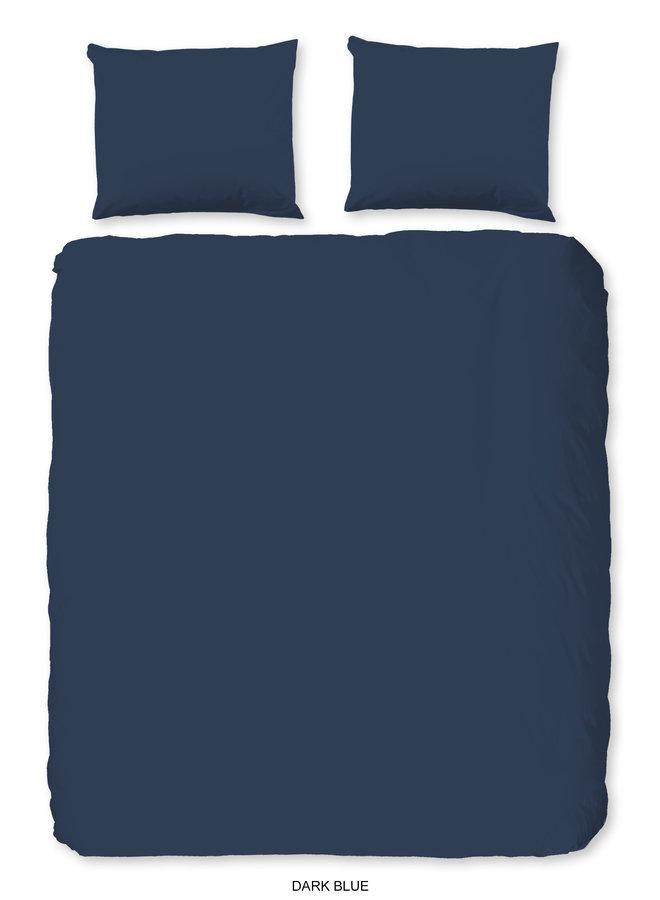 Dekbedovertrek 2 persoons 200x220 katoen-satijn d.blauw