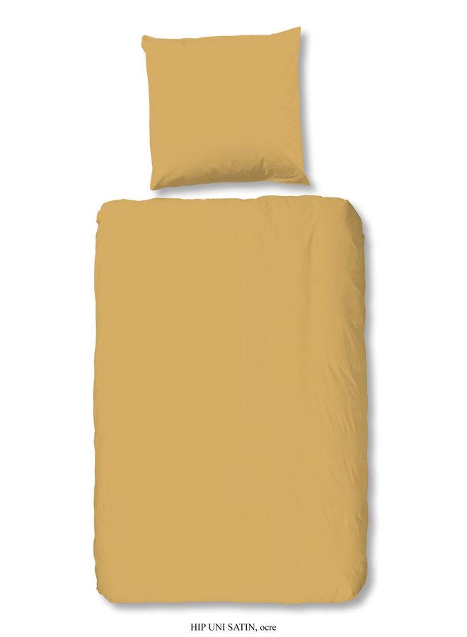 1-persoons dekbedovertrek 140x220 katoen-satijn oker