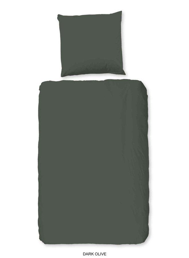1-persoons dekbedovertrek 140x220 katoen-satijn d.olijf