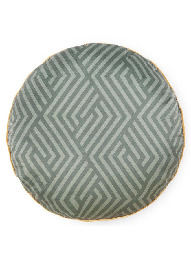 Rond sierkussen 55cm diameter polyester nr.20017 olijf