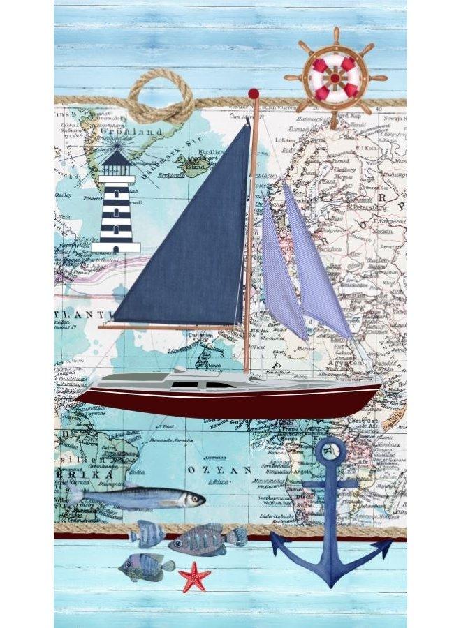 Strandlaken 100x180 poly velours nr.2220 blauw