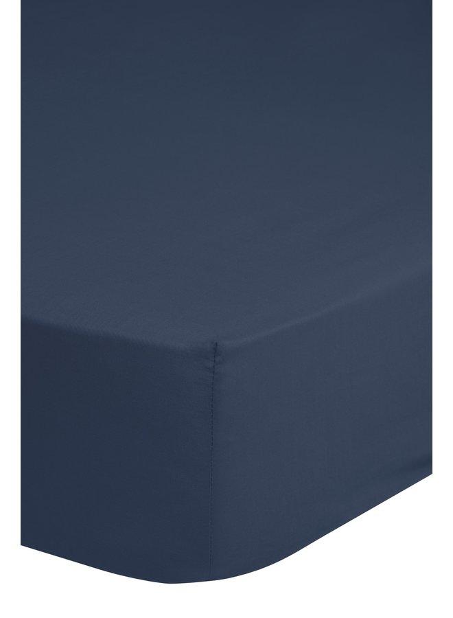 Hoeslaken 180x220 HIP katoen-satijn d.blauw