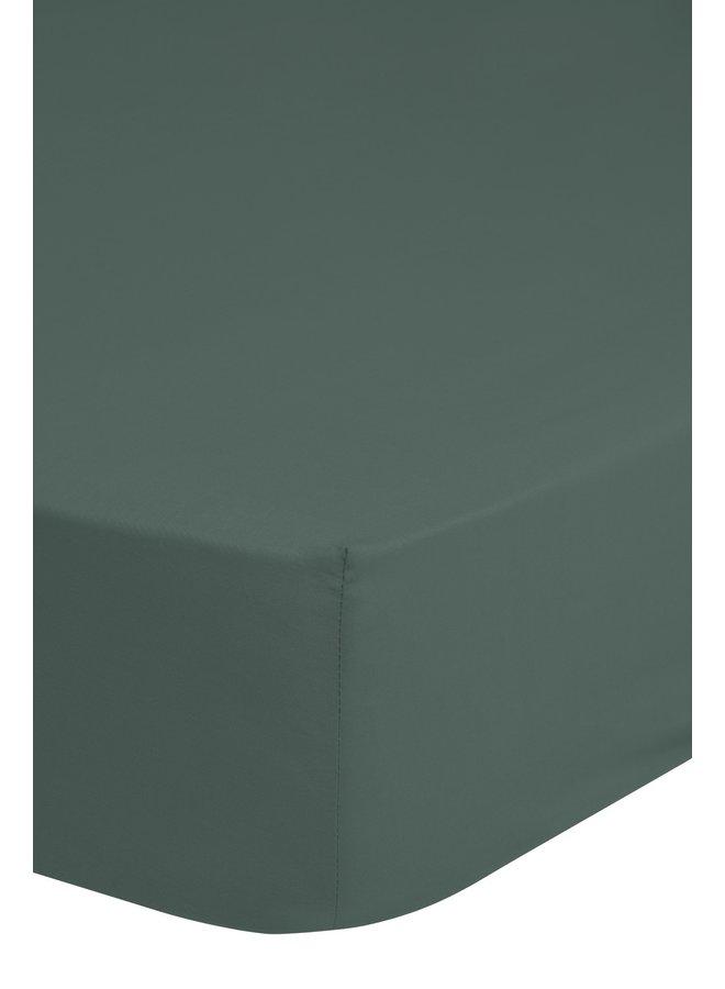 Hoeslaken 90x220 HIP katoen-satijn d.olijf