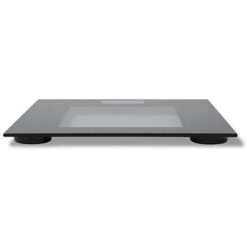Inventum Digitale weegschaal badkamer | weegt tot 180 kilo | personenweegschaal | LCD display | precisie weegschaal in zwart | glazen design | tot 100 gram nauwkeurig | slank ontwerp