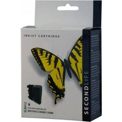 Secondlife SecondLife vervangende inkt cartridge zwart voor Brother LC-980BK en LC-1100BK