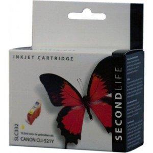 Secondlife SecondLife vervangende inkt cartridge geel voor Canon CLI-521Y