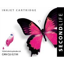 Secondlife vervangende inkt cartridge magenta voor Canon CLI-521M