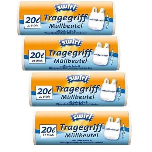 Swirl Swirl pedaalemmerzakken met handvatten antibact.20ltr Multipack 4 x 20 stuks