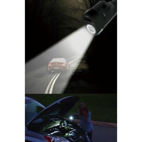 Avrena Avrena 6-in-1 zaklamp met noodhamer, gordelsnijder, noodlamp, ingebouwde accu, oplader