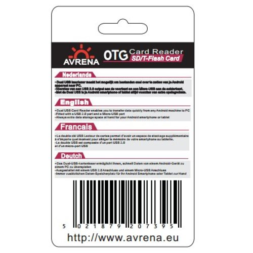 Avrena Avrena OTG Micro USB kaartlezer voor PC en Mobiele telefoon