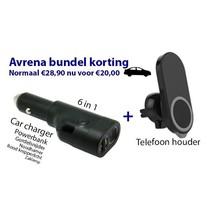 Avrena Autolader en telefoonhouder bundelkorting