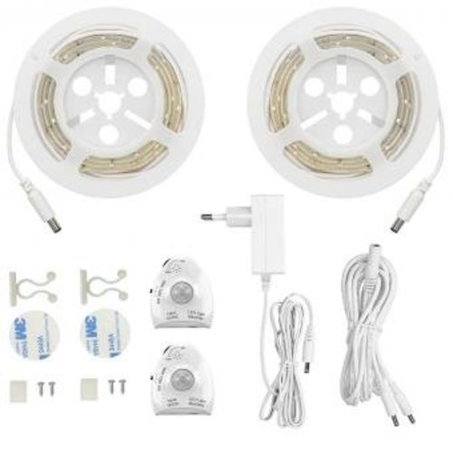 Bed verlichting- 2 stuks LED strip met 2  bewegingssensoren - Wit
