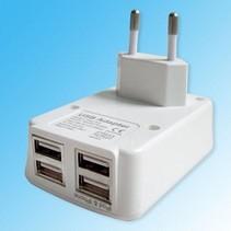Wandoplader met 4 USB poorten 2.1A en 1A - voor Smartphone en Tablet - Wit