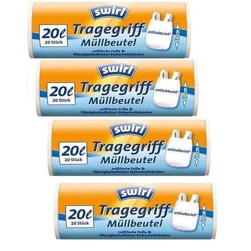 Swirl Swirl pedaalemmerzakken met handvatten antibact.20ltr Multipack 4 rollen van 20 stuks