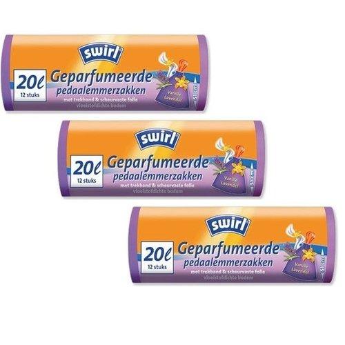 Swirl Swirl Geparfumeerde pedaalemmerzakken trekband 20ltr - Multipack 3 rollen van 12 stuks
