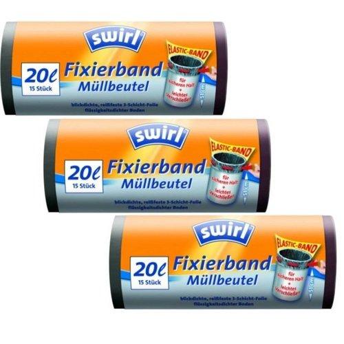 Swirl Swirl Afvalzakken Fixeerband 20 LITER Multipack 3 x 15 zakken
