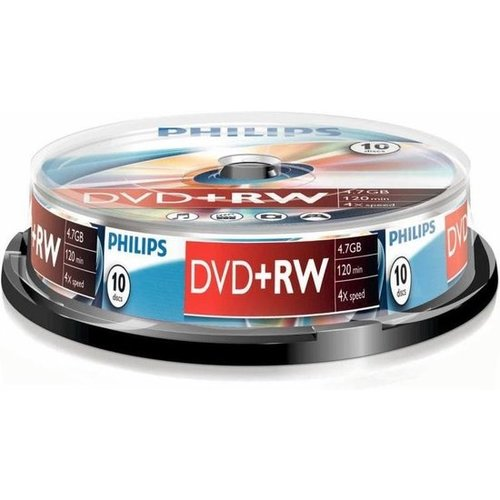 Philips DW4S4B10F - DVD+RW - 4,7GB - Speed 4x - Spindle - 10 stuks