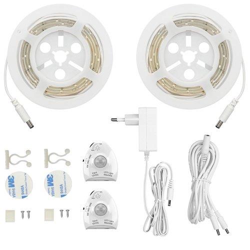 Bed/kast/trap  verlichting- 2 LED strip  met bewegingssensoren dimbaar -warm wit - nachtlampje - KWM