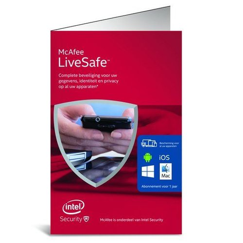 McAfee McAfee LiveSafe Standalone - Nederlands / Onbeperkt aantal Apparaten / 1 Jaar / Windows / Mac / Android / IOS