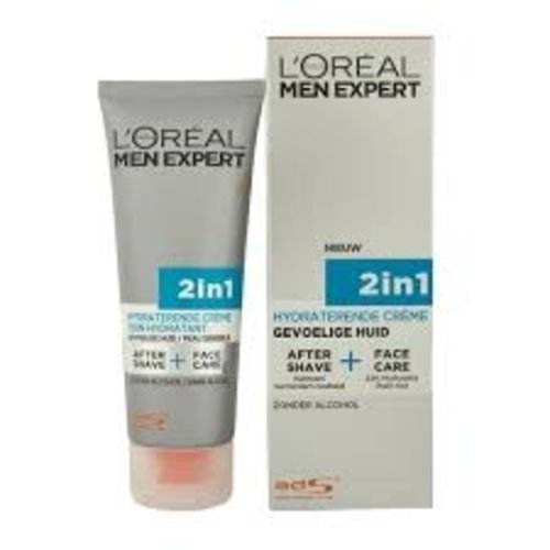 L'Oréal Men Expert Hydra Sensitive 2in1 - gevoelige huid - 75ml - Aftershave en gezichtscrème